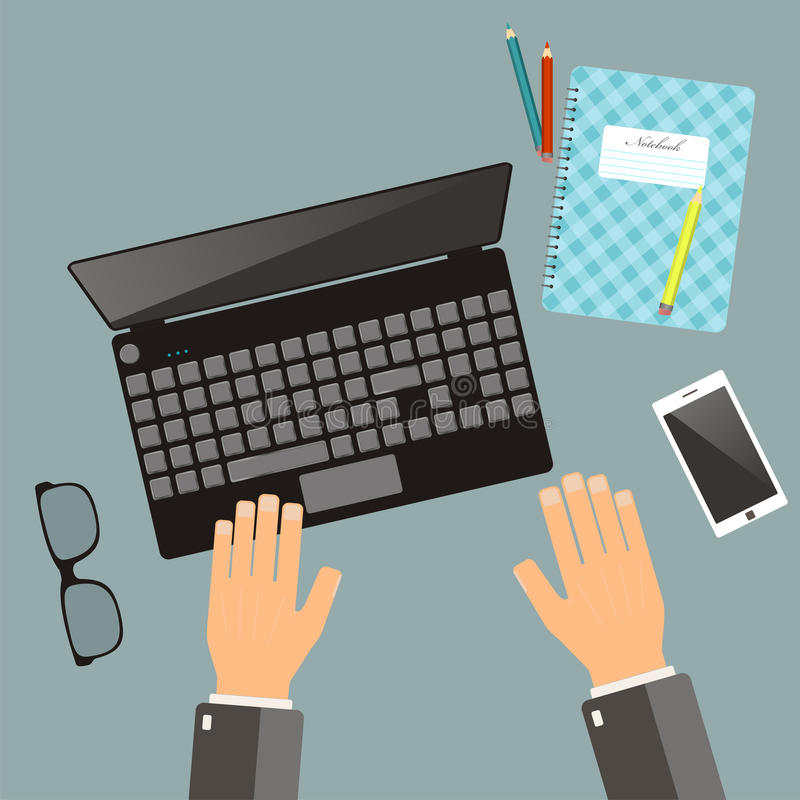 Workplace concept. Top view hands, laptop, notebook, pencil, glasses, mobile phone. Vector flat illustration. Workplace concept. Top view hands, . Vector flat vector illustration