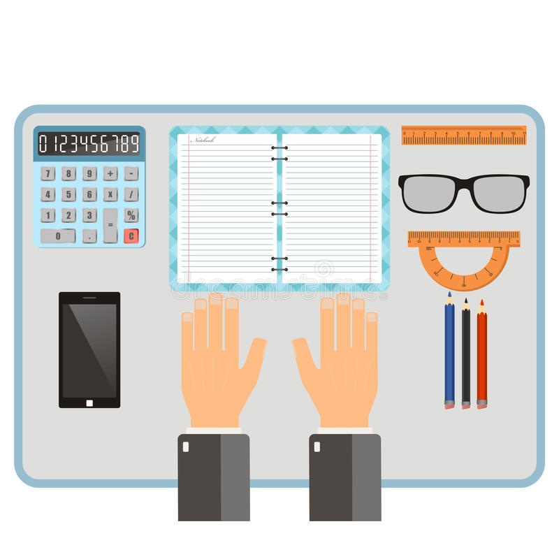 Workplace concept. Top view hands, notebook, pencil, mobile phone, supplies. Vector flat illustration. stock illustration