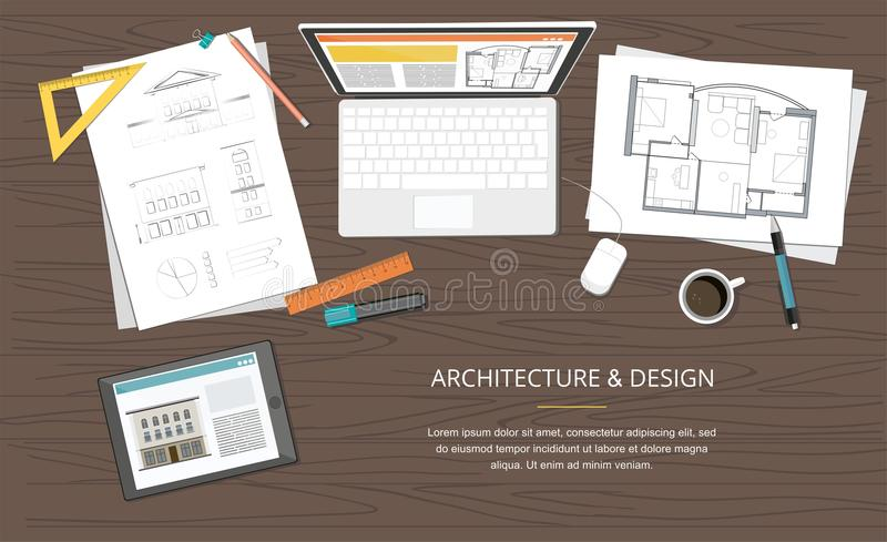 Workplace - Construction project architect house plan with tools, laptop and notebook. Construction background. Vector Illustration vector illustration