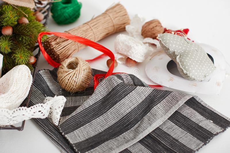 Workplace with creative accessories for crafts. Top view. Flat lay art tools. stock photo