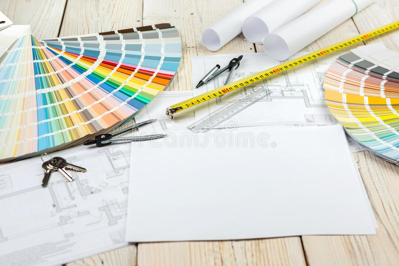 Workplace designer architect decorator. Items on the table top view. Tools for color selection in the interior. Repair and construction. Workplace designer stock photo
