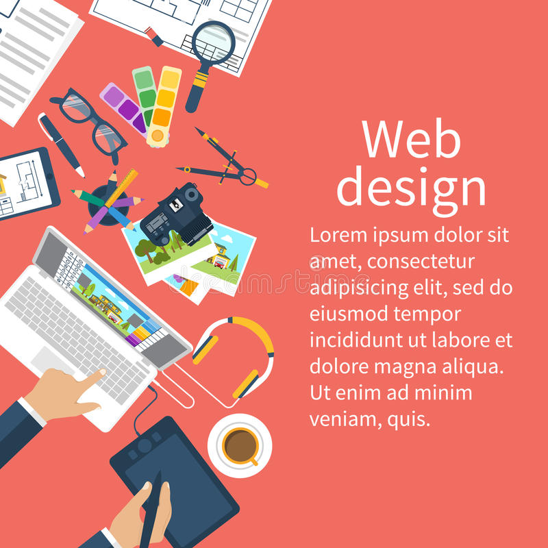 Workplace of designer. Creative worker. vector illustration