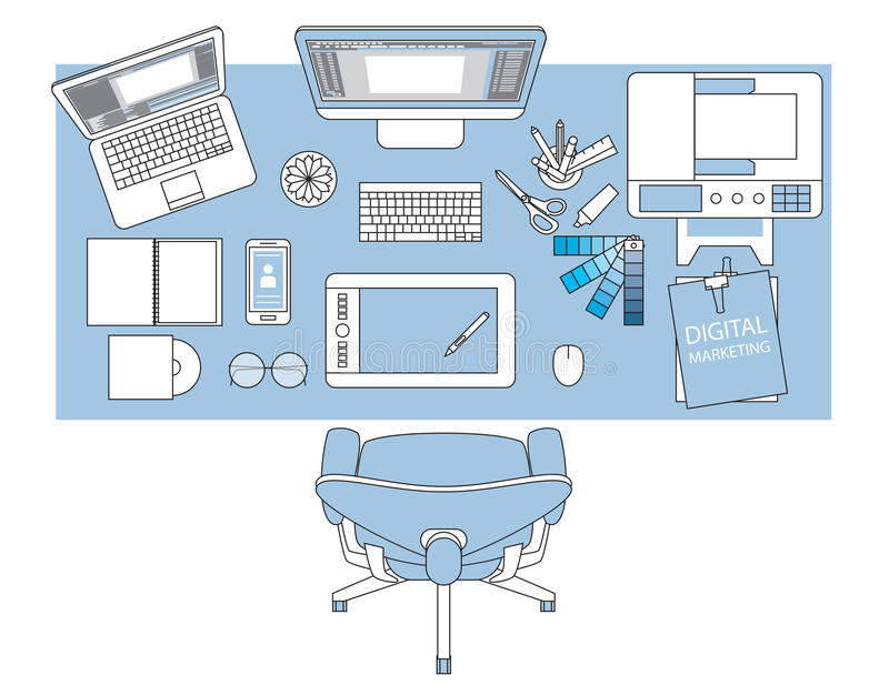 Workplace of designer with devices for work,Flat designed banner. S for creative project, business, finance royalty free illustration