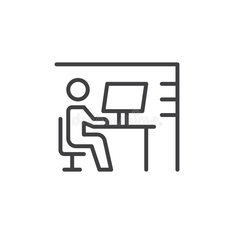 Workplace desk line icon, outline vector sign, linear style pictogram isolated on white. Symbol, logo illustration. Editable strok. E. Pixel perfect stock illustration