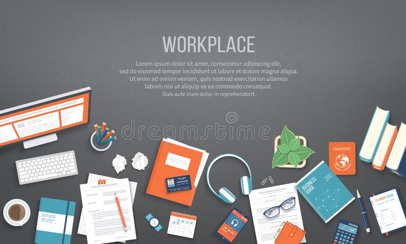Workplace Desktop background. Top view of black table, monitor, folder, documents, notepad. Place for text. Vector Top view vector illustration