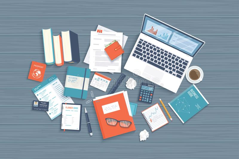 Workplace Desktop background. Top view of laptop, books, folder with documents, notepad, purse, calendar on a wooden table stock illustration