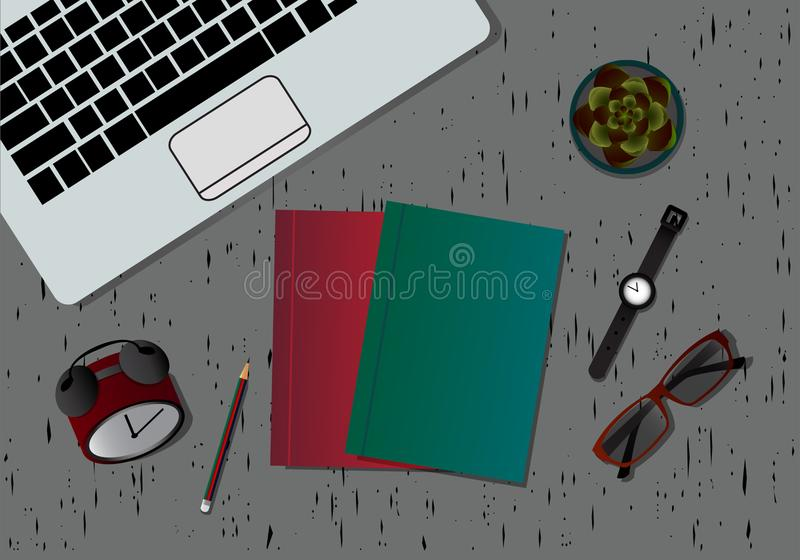 Workplace Desktop background. Top view of table. Top surface with for the woods gray colo. R ,Close-Up background, organization. Vector royalty free illustration