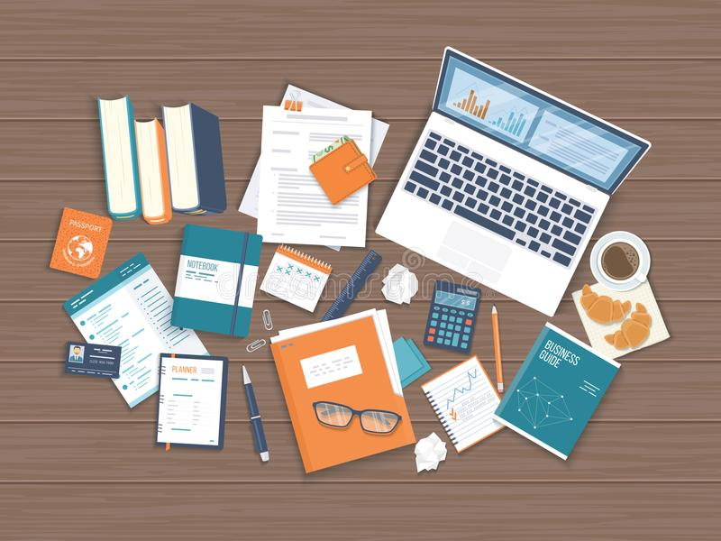 Workplace Desktop background. Top view of wooden table, laptop, books, folder stock illustration