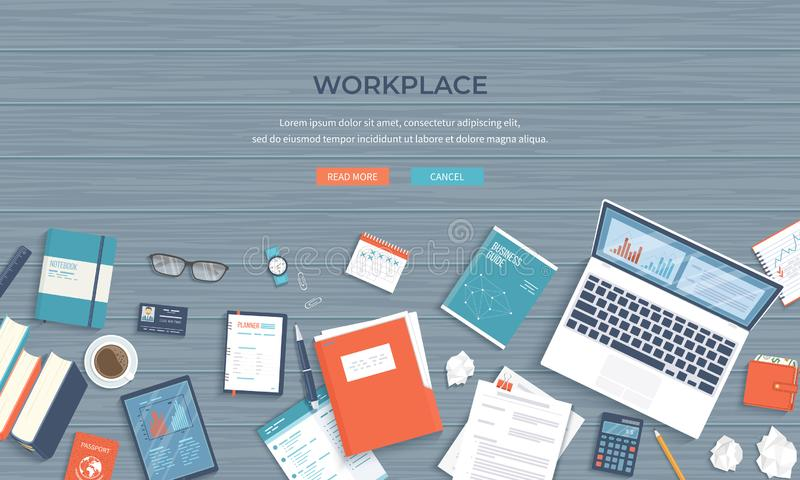 Workplace Desktop background. Top view of wooden table, laptop, folder, documents. Business background. Vector royalty free illustration