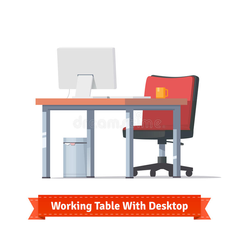 Workplace with desktop, wheelchair and a trashcan. Comfortable modern workplace with desktop, wheelchair and a trashcan. Flat style illustration or icon. EPS 10 vector illustration