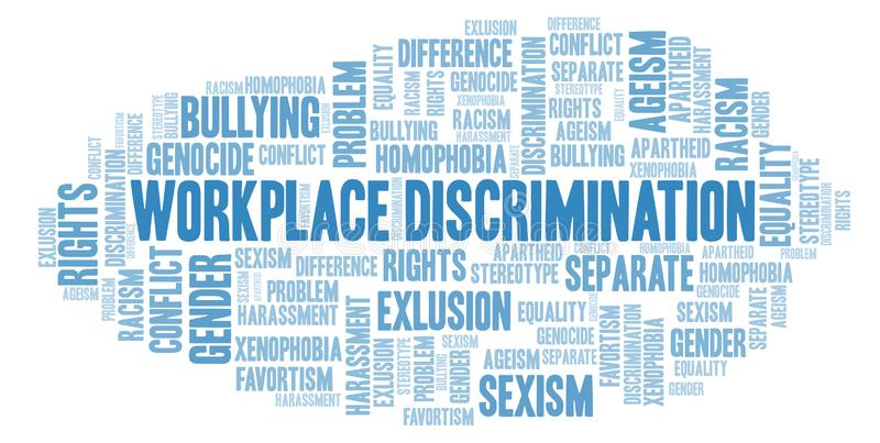Workplace Discrimination - type of discrimination - word cloud. Wordcloud made with text only royalty free illustration