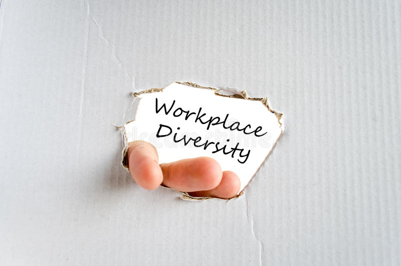 Workplace diversity text concept. Isolated over white background royalty free stock photography