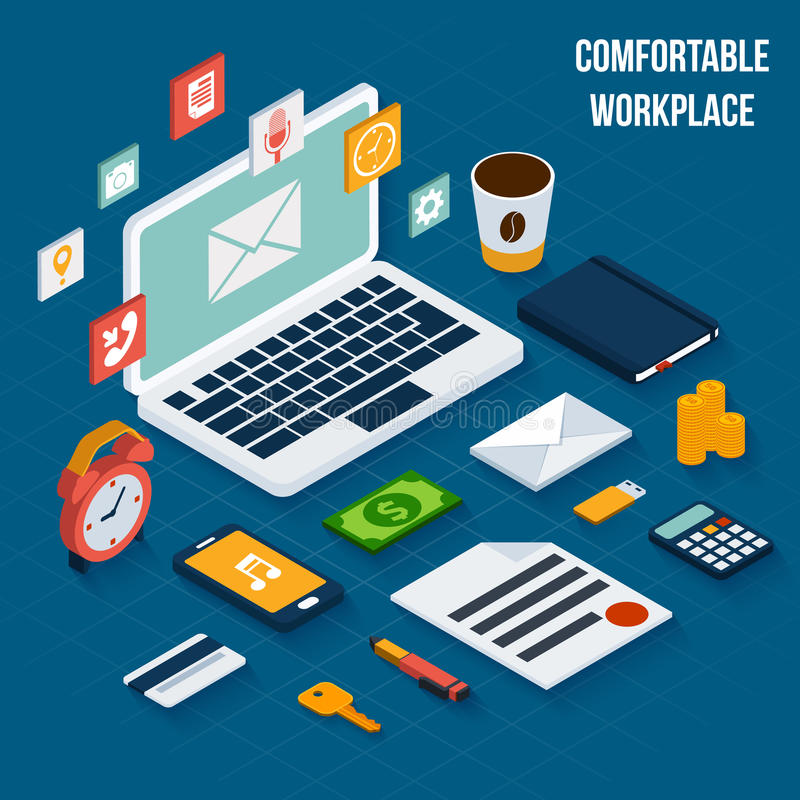 Workplace elements isometric stock illustration