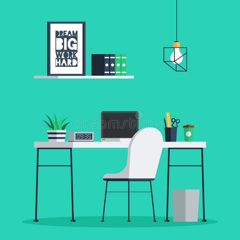 Workplace freelance interior. With laptop, clock, coffee cup and plant on desk, home office. Trendy vector illustration in flat design for web banner and print stock illustration