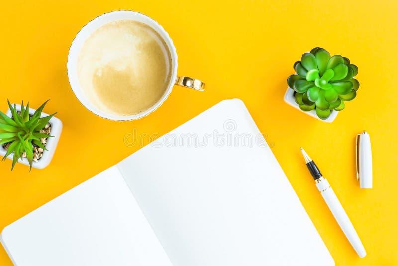 Workplace of freelancer, journalist, writer stock photo