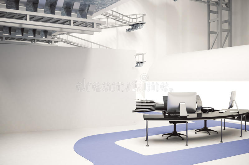 futuristic office ditches cubicles super. Futuristic Office. Download Workplace In Office Stock Illustration - Of Concrete, Indoors: Ditches Cubicles Super