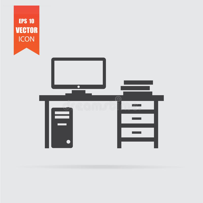 Workplace icon in flat style isolated on grey background. For your design, logo. Vector illustration vector illustration
