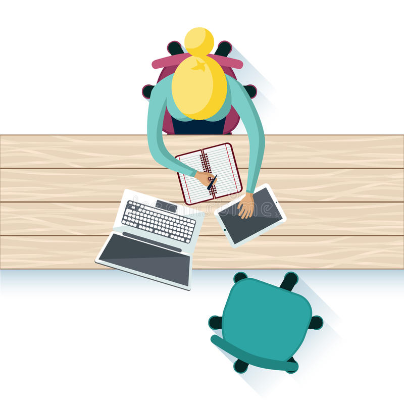 Workplace Interior Table Top Design stock illustration