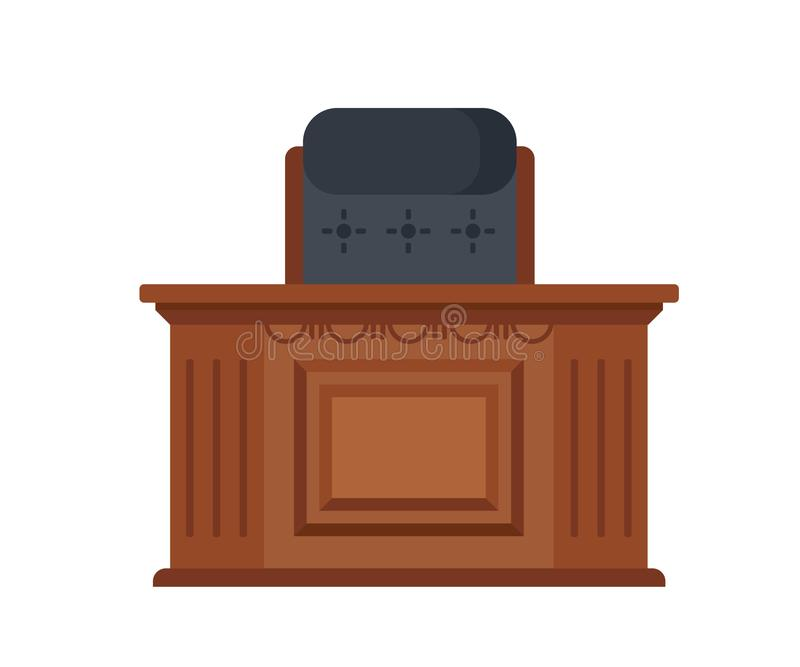 Workplace of judge, wooden carved table, and a working chair. Office, room of the judicial building. Workplace of the judge, in the form of a wooden carved royalty free illustration