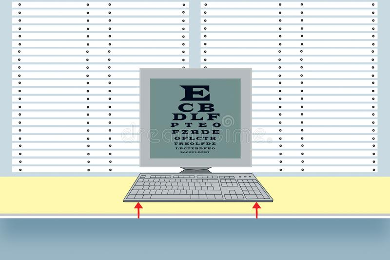workplace Klawiatura i monitor na tle story Stół dla sprawdzać widok na monitoru ekranie konserwacja ilustracji