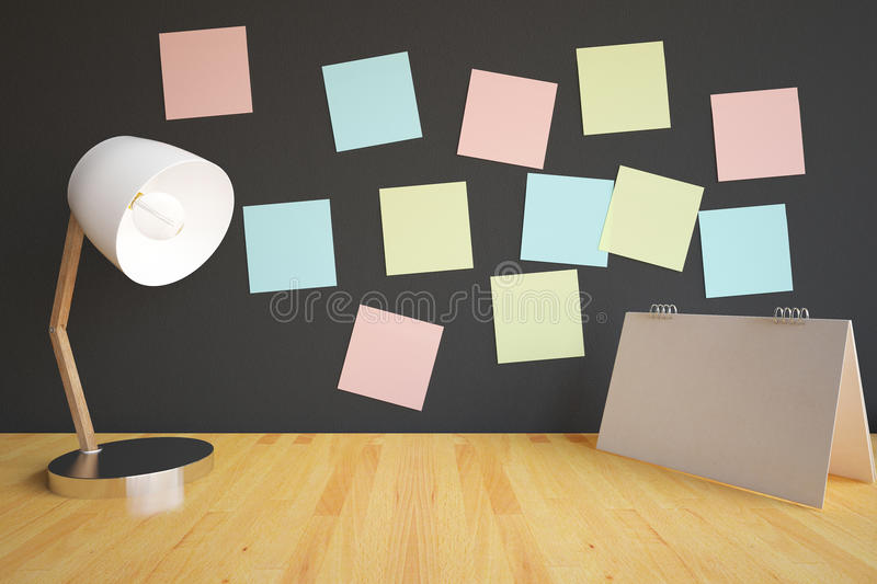 Workplace with lamp and stickers. Closeup of creative workplace with table lamp, empty calendar stand and colorful stickers on dark wall. 3D Rendering royalty free illustration