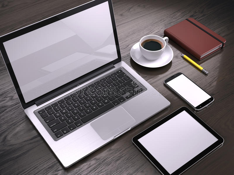 Workplace with Laptop, Tablet PC and smartphone with blank screens on table royalty free illustration