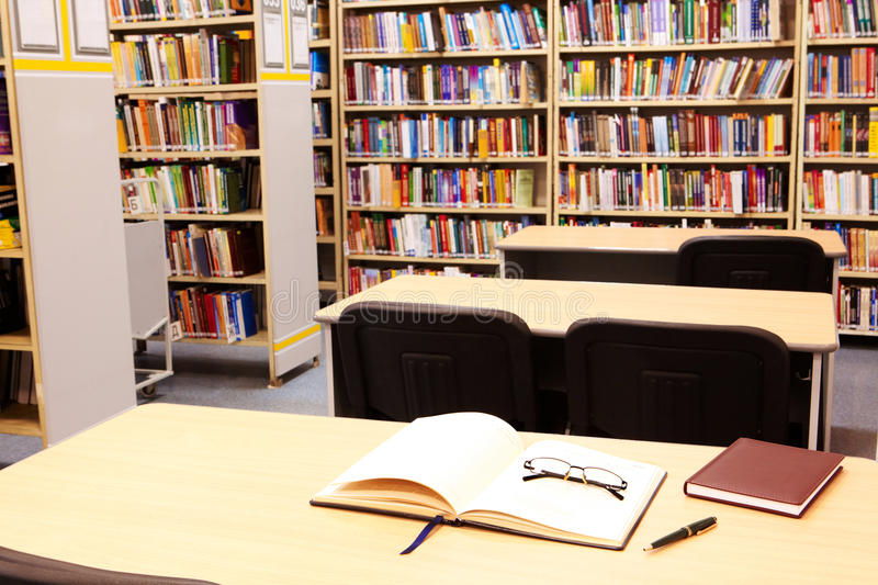 Workplace In Library Stock Image
