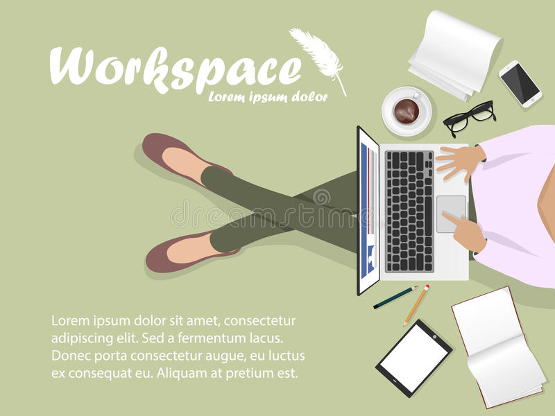 Workplace with man with laptop, phone. And book stock illustration