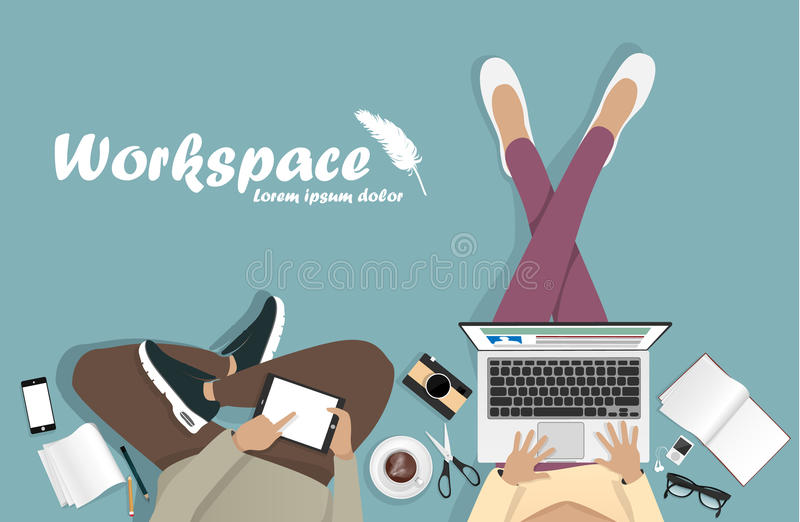Workplace with man with laptop, phone. And book vector illustration