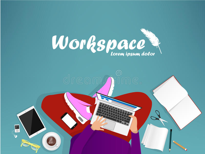Workplace with man with laptop. Phone and book stock illustration