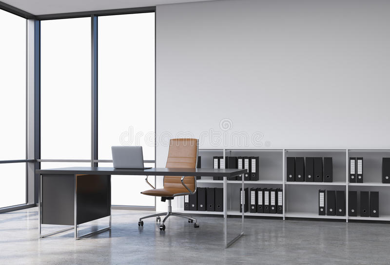A workplace in a modern corner panoramic office with copy space in the windows. A black desk with a laptop, brown leather chair an royalty free illustration