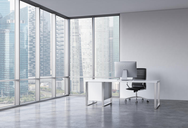 A workplace in a modern corner panoramic office with Singapore view. royalty free illustration
