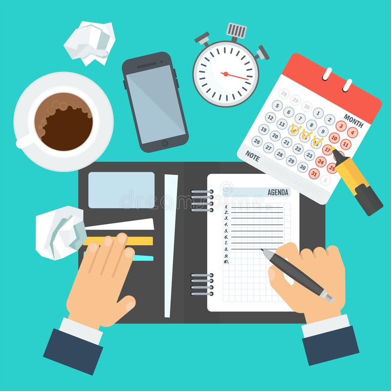 Workplace with notebook. Businessman writes a daily routine. Schedule and planning in management and administration. Flat vector cartoon illustration. Objects stock illustration