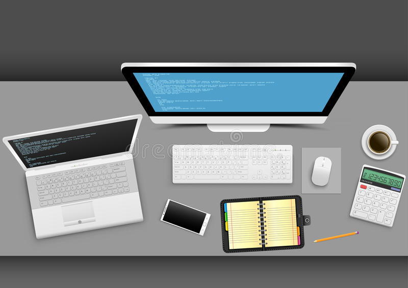 Workplace in the office. Workplace from above on gray office table. White modern computer laptop smartphone notebook organizer calculator coffee with shadow on stock illustration