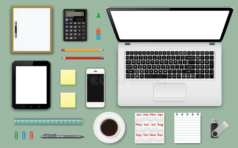 Workplace office and business work elements set. Mobile devices and documents royalty free illustration