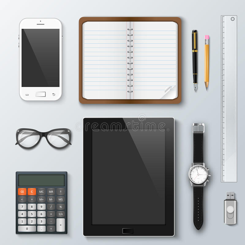Workplace office and business work elements set. vector illustration