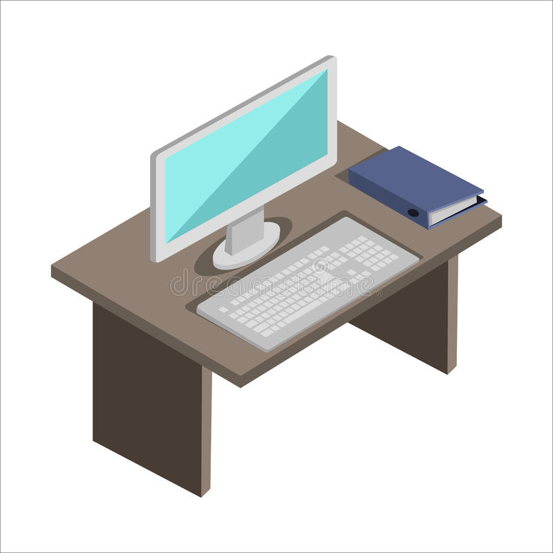 Workplace in Office stock illustration
