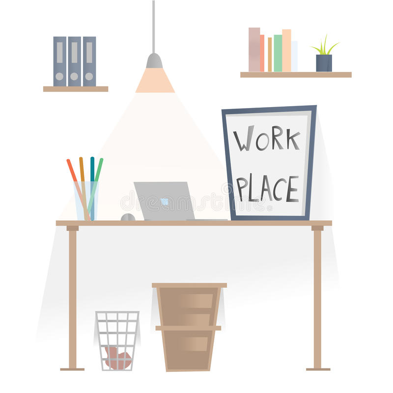 Workplace in office. Desk with laptop, shelves with folders and wastepaper basket under the table. Vector illustration stock illustration