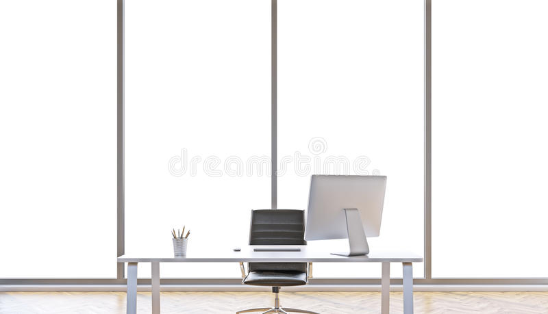 Workplace in office. Table with computer for one, office. Panoramic window behind. Concept of work. 3D rendering royalty free illustration