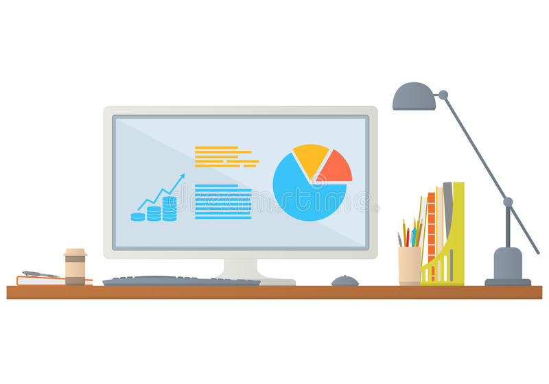 Workplace in office. Vector flat illustration. royalty free stock photos