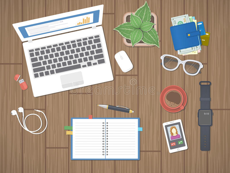 Workplace in office. Work in a team, Work activity. Office work equipment on a wooden table. stock illustration
