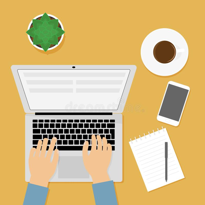 Workplace person working at computer. Vector illustration, concept of sedentary lifestyle, office. Notebook, notepad, cup stock photo