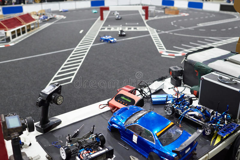 Workplace for preparing models of cars on radio for racing stock image