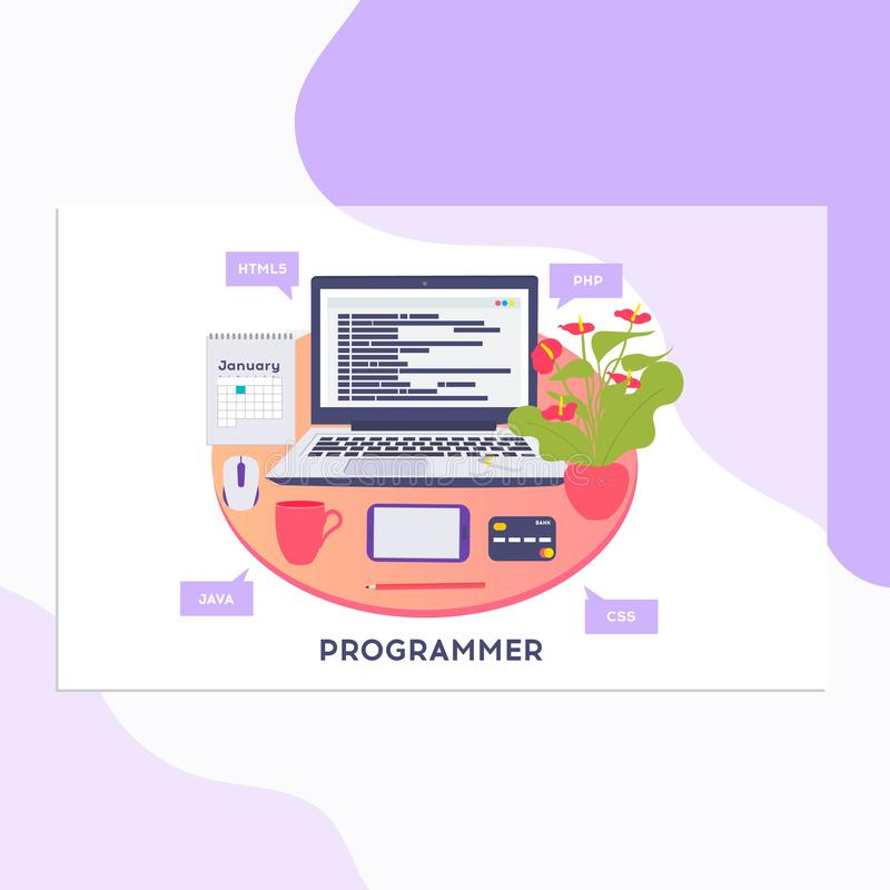Workplace of programmer or coder. Vector illustration, programmer coding a new project using computer, Web Development, website royalty free illustration