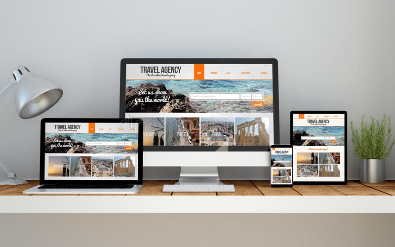 workplace with responsive design travel website online responsive website on devices stock photography
