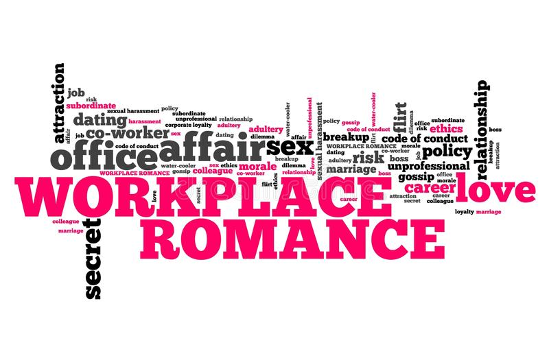 Workplace romance. Company employee dating and love. Corporate regulations word cloud vector illustration
