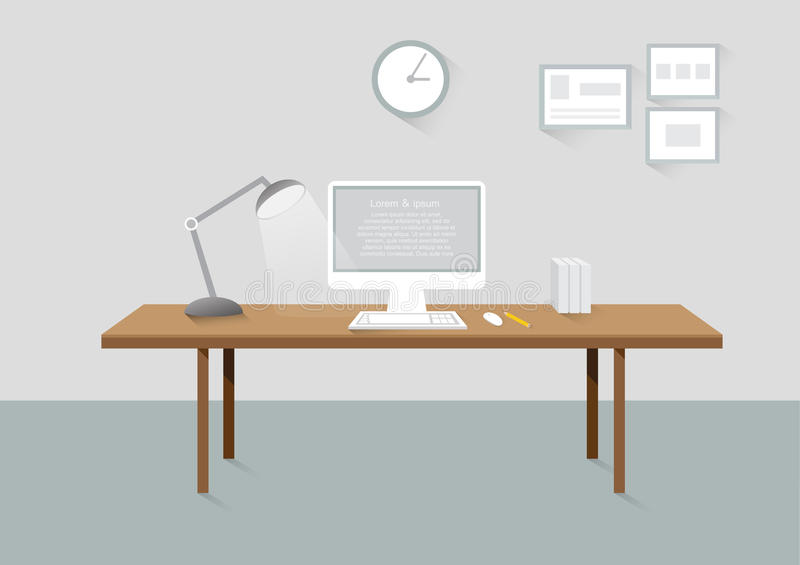 Workplace room creative office design elements flat design. With long shadows vector illustration