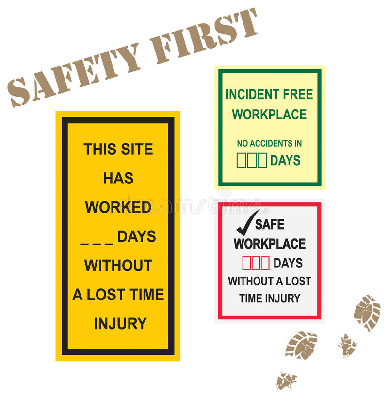 Workplace Safety Signs stock illustration