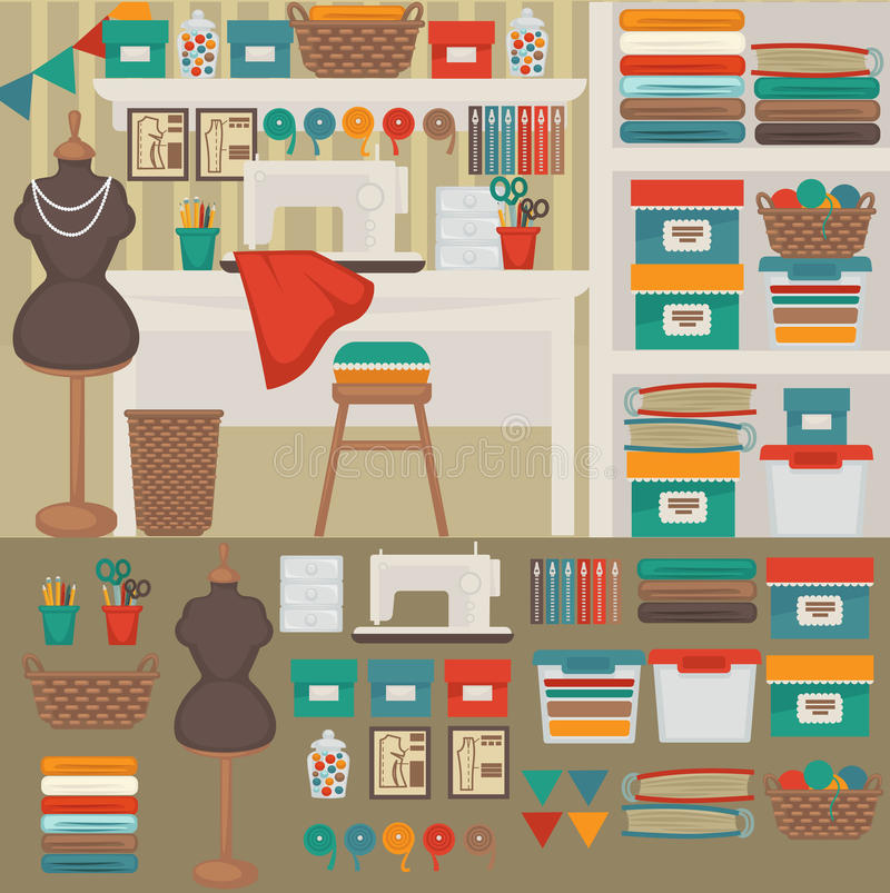 Workplace seamstress: tailoring, sewing machine. vector illustration