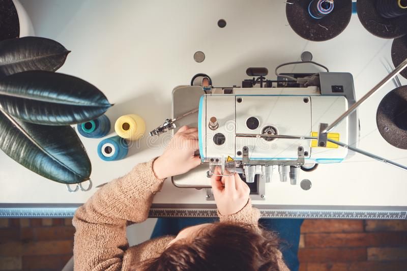 Workplace of seamstress. Top view. royalty free stock image